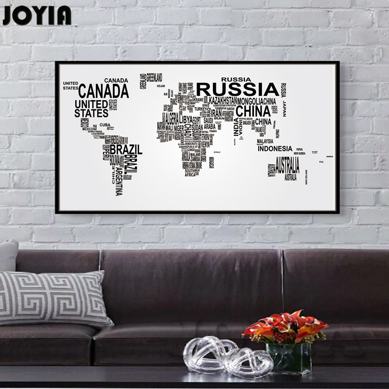 Buy large world map canvas art english for Black and white world map wall mural