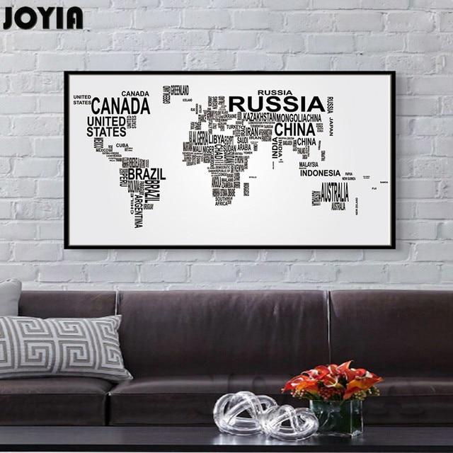 Large world map canvas art english words country names word art large world map canvas art english words country names word art black and white print wall gumiabroncs Choice Image
