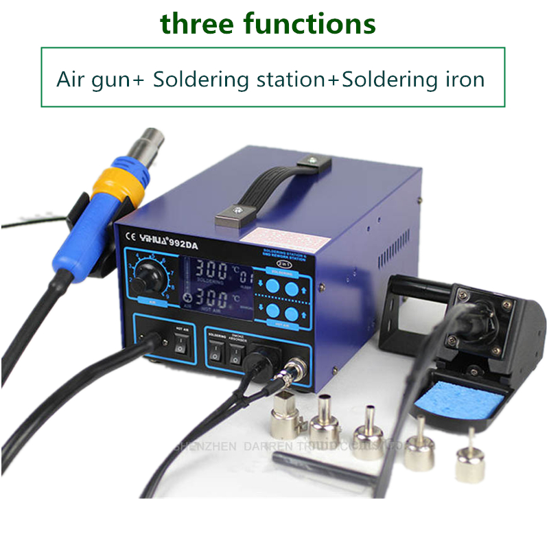 YIHUA 992DA 3 In 1 Soldering Station Smoking Solder Iron With BGA Soldering Rework Station English Manual