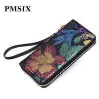 PMSIX Women's Clutch Embroidery Flowers Cow Leather Wallet Fashion Female Luxury Purse Socialite Evening Clutch Bags for Ladies