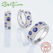 Sistema de la joyería para Las Mujeres Azul Nano Anillo CZ Diamond Pendientes Determinados de La Joyería Set 925 Joyería de Plata Esterlina Conjunto