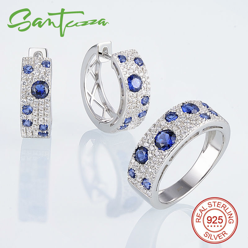 Image 2 - SANTUZZA Jewelry Set for Women Gorgeous Blue Nano CZ Earrings Ring Set Genuine 100% 925 Sterling Silver Sparkling Jewelry Set-in Jewelry Sets from Jewelry & Accessories