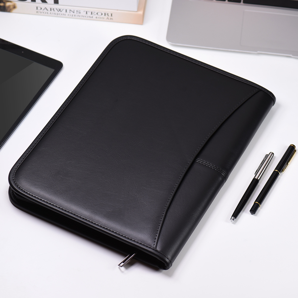 Leather  office document folder Multifunctiona Business Portfolio Folder Zippered Closure with Business Card