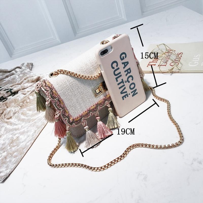 SUNNY SHOP Small Shoulder Bag Chain Handbag Women Summer Bag Elegant Female Crossbody Bag Tassel National Designer Boho 40