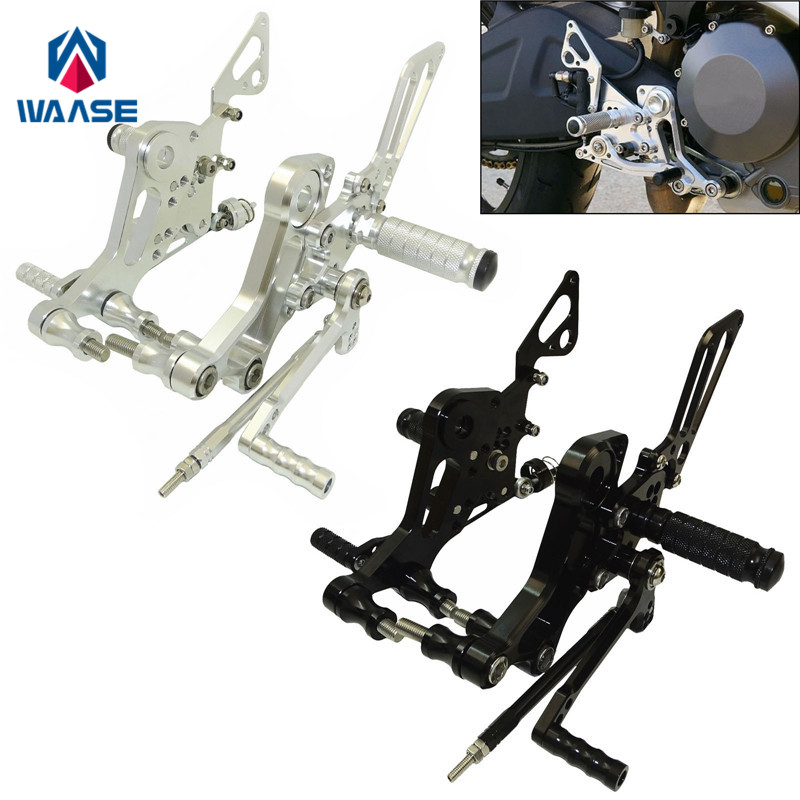 waase Motorcycle CNC Adjustable Rider Rearsets Rearset Footrest Foot Rest Pegs For Ducati Monster 696 795 796 1100 EVO free shipping cnc motorcycle rearsets foot pegs rearset golden color for honda cbr929rr 2000 2001