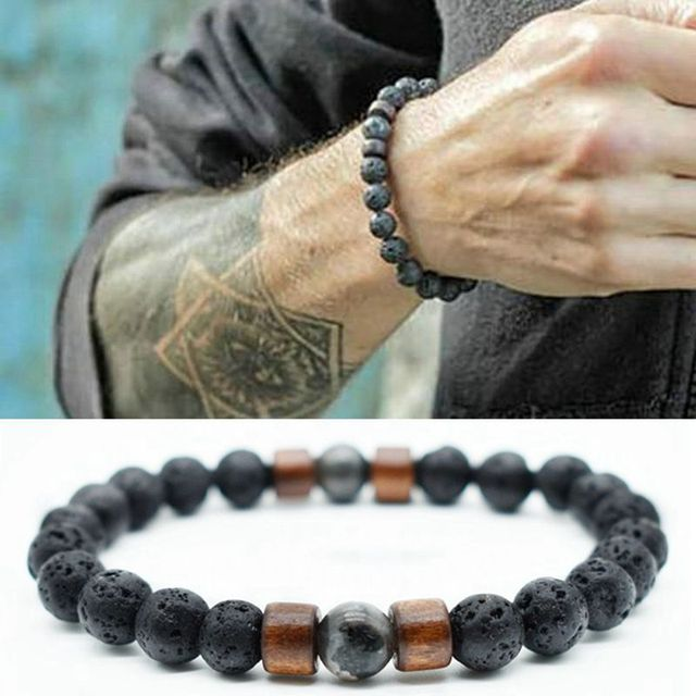 2019 Stone Bracelet/beads/lava/natural/homme/fashion/bangles Bracelet Men Wooden Bead Accessorie Jewelry Male Gift