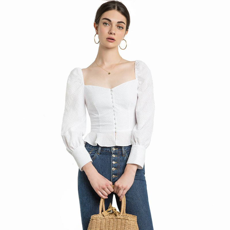 Blouses Libre Shiping Muxu Streetwear Chemise Femmes Blanc Blusas Manches Corps Vêtements Top Longues White À FqYwF0