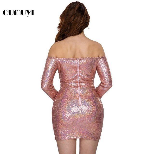 Tienda Online OUMUYI Moda Brillante de Lentejuelas Vestidos de ...