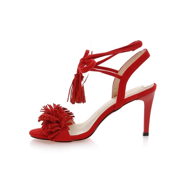 S.Romance Women Sandals Plus Size 34-43 Fashion Summer Office High Heel Ladies Pumps Lace-Up Shoes Woman Black Red Pink SS731