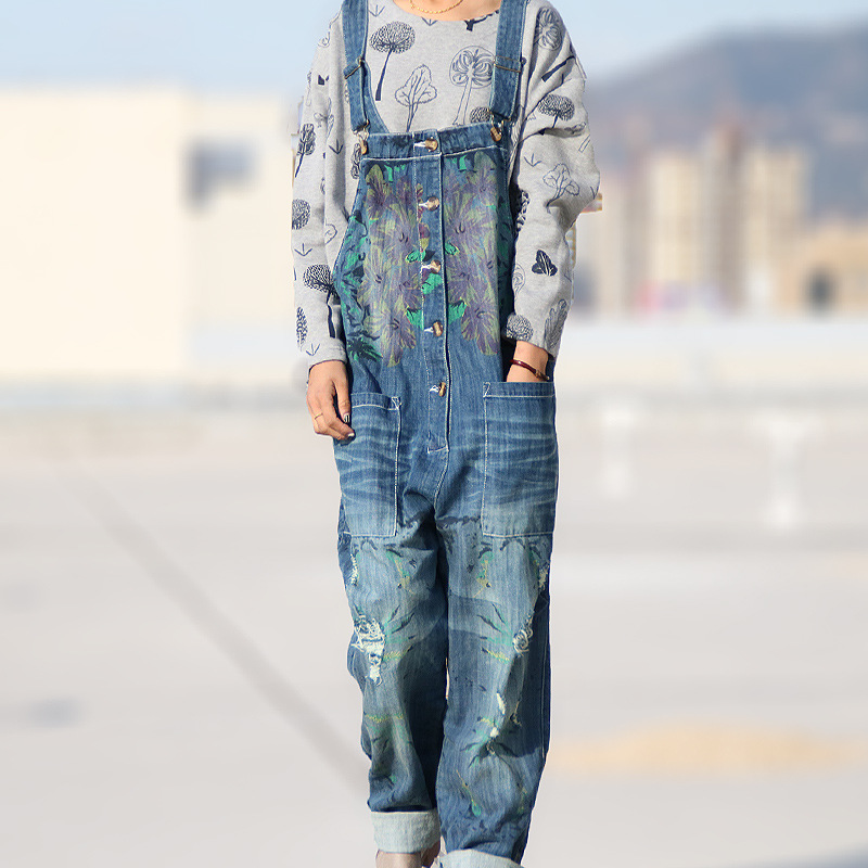Women 2016 Summer Leisure Loose Plus Size Denim Jumpsuits Overalls collapse Pants Ankle length Strap Floral