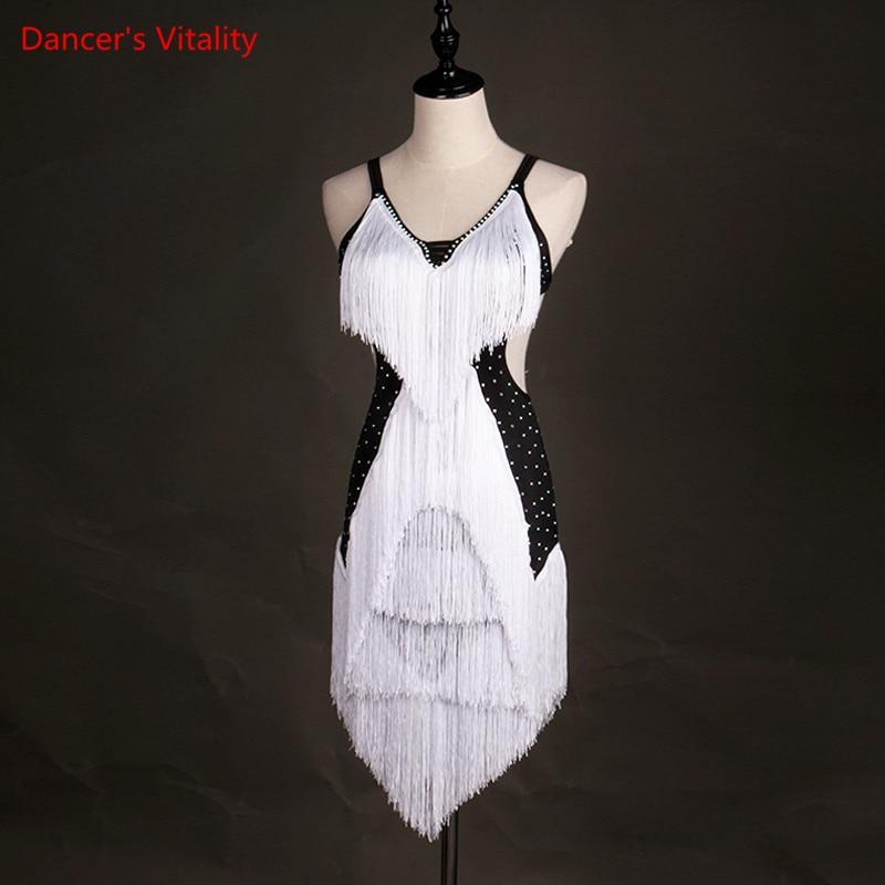 Sexy Tassel Latin Dance Dress Women Lombard Skirt Samba Dance Latin Salsa Dresses For Dance Dress Women  Dance Dress
