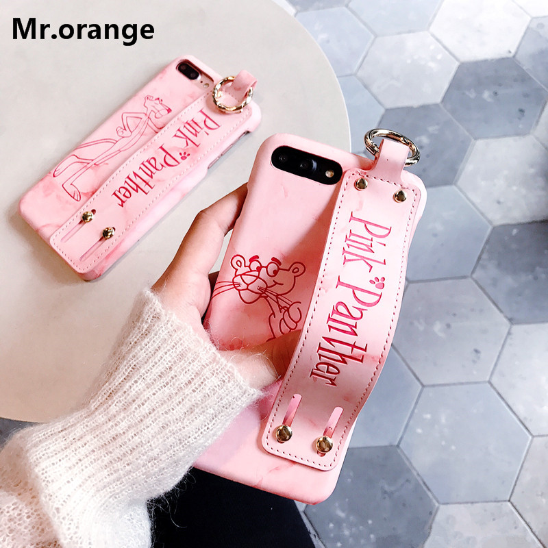 Pink Panther Marble PU leather Gfip Starp Phone Case For iphone X 8 8plus 7 7plus 6 6s 6plus 6splus Hard PC Back Cover Case Capa