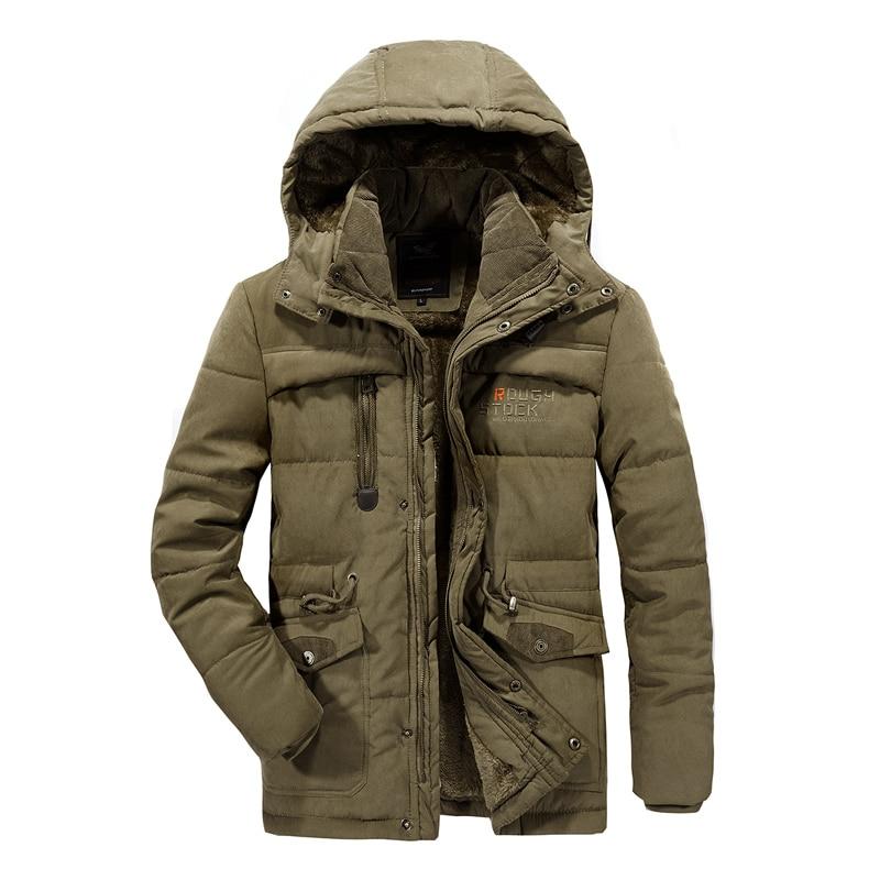 Homme hiver veste grande taille 6XL 7XL 8XL épais chaud Parka polaire fourrure à capuche militaire veste poches coupe-vent veste hommes - 4