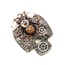 MRYS steampunk gothic honeybee skull skeleton brooch pin pendant charm chain mens women vintage jewelry for jack cost suit bag