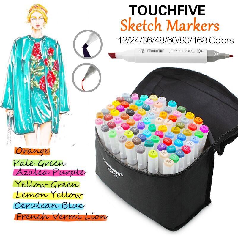 TouchFive 12/24/36/48/60/80/168 Colori Disegno Marker Pen Alcol Dual Headed Consigli per Manga Disegno Marcatore disegno