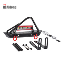 1:10 RC Crawler Steel Front Bumper Bull Bar with LED Light for 1:10 RC Crawler Car Axial SCX10 Traxxas TRX 4