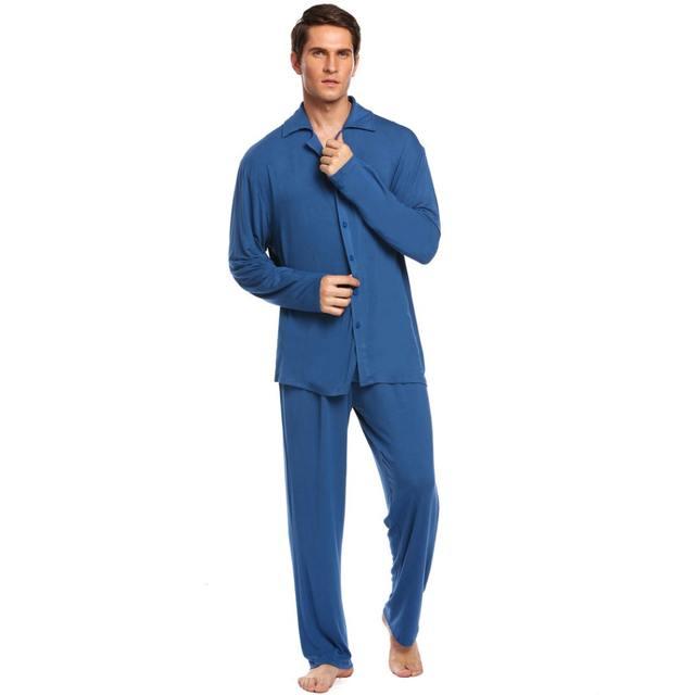 Ekouaer Mens Pajamas Set Nightwear Long Sleeve Solid Loose Sleepwear Set Broadcloth Turn Down Collar Loungewear M-3XL