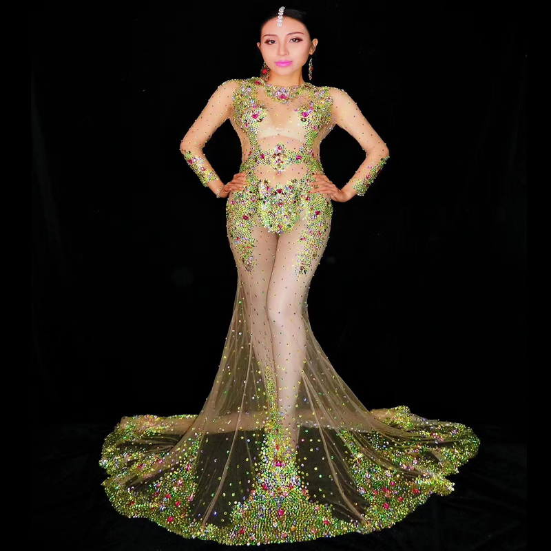 2019 femmes nouveau vert brillant multicolore strass Transparent maille Sexy robe célébrer tenues porter soirée équipe danse robe