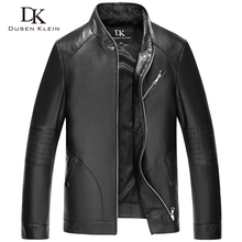 Dusen Klein 2017 New Men Leather Jacket Genuine sheepskin Black/Slim/Simple Business Style/ leather Coats 61B1529