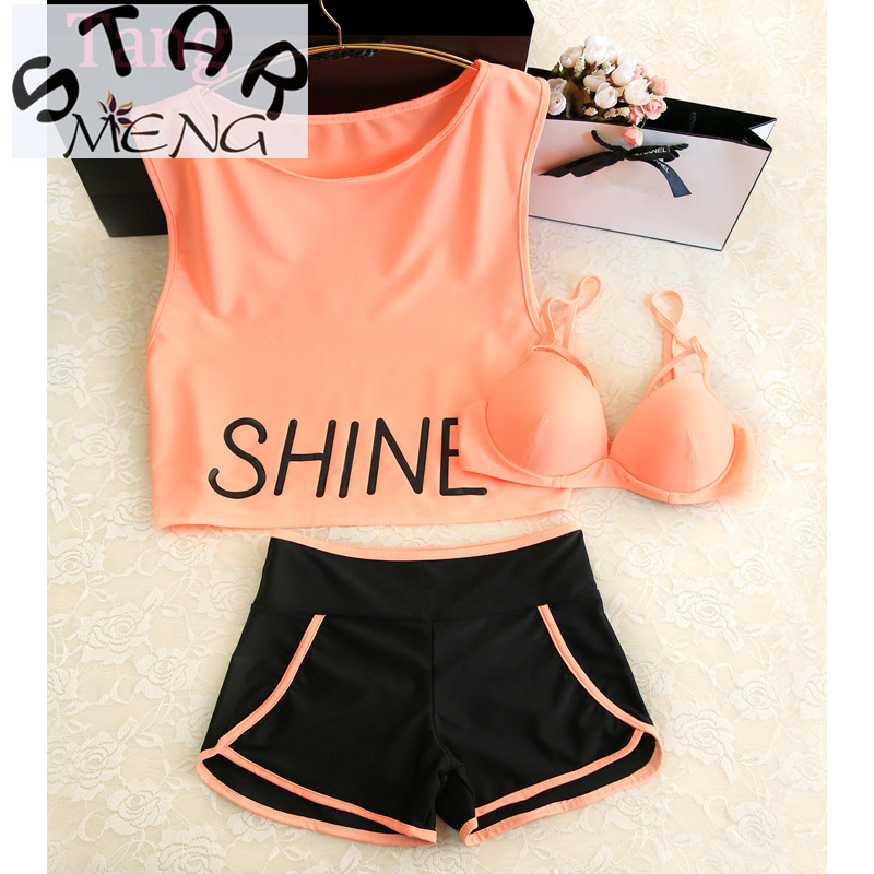STAERK 2017 Sale Korean Girl Female Swimsuit Conservative Thin Cover Belly Bikinis Three Piece Split Student Boxer Movement staerk 2017 swimsuit female conservative one piece skirt korean stripe gathered thin thin belly holiday