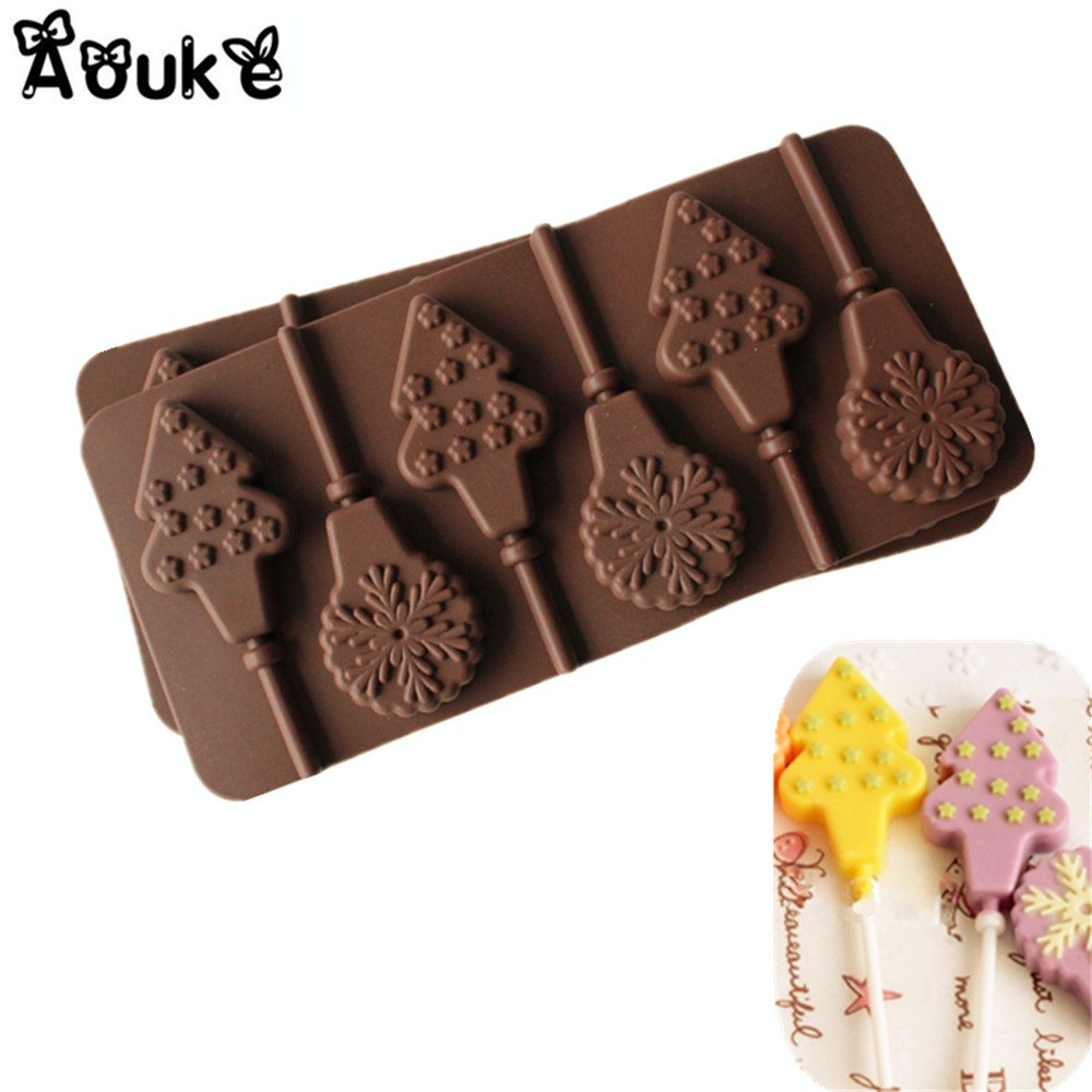 Christmas Tree Muffins: Snowflake Christmas Tree Lollipop Chocolate Silicone Mold