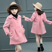 2017 High Quality Baby Girls Autumn Winter Coat Fashion Pure Color Kids Wool Jacket Outerwear Children