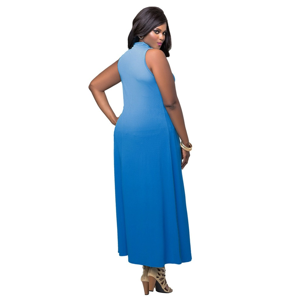 US $11.15 25% OFF|2XL Plus Size Moda Mujer Vestidos Casual Women High Neck  Sleeveless Summer Long Dress Irregular Royal Blue Hi Lo Maxi Dresses-in ...