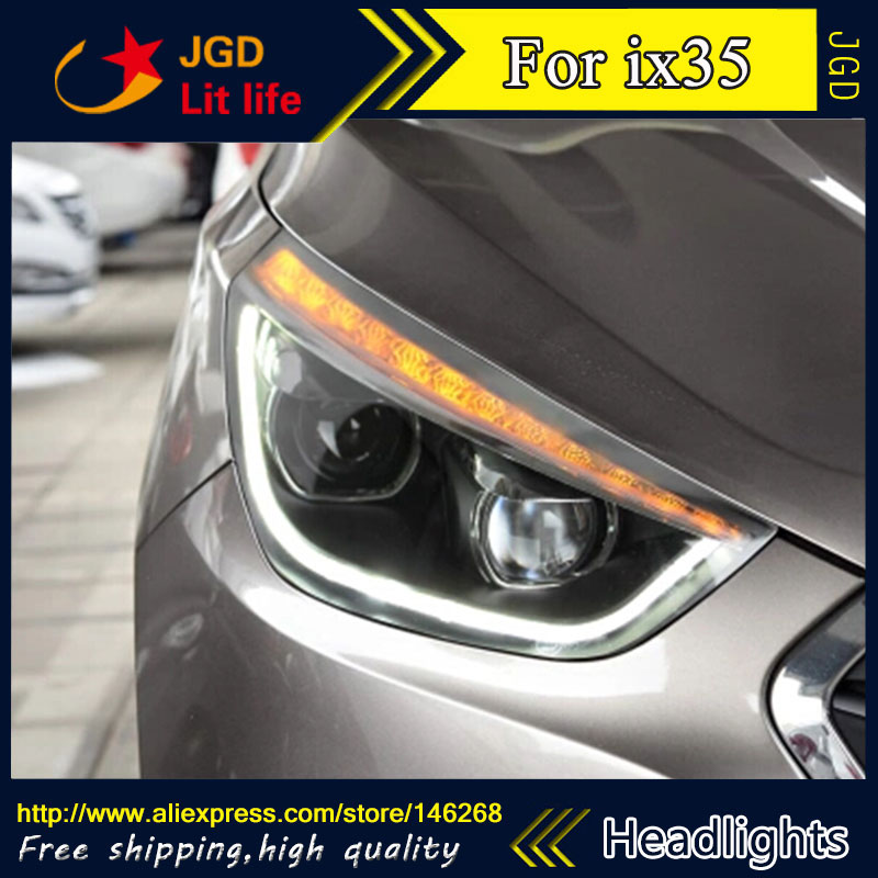 Free shipping ! Car styling LED HID Rio LED headlights Head Lamp case for Hyundai IX35 Bi-Xenon Lens low beam