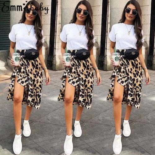e420c9c01b Nueva Sexy Leopard falda mujeres Casual asimétrico Split falda de leopardo  alta cintura partido falda señora