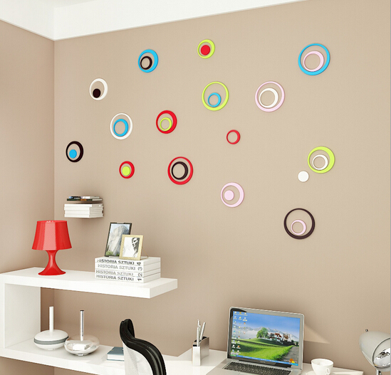 (1set=5pcs round )Fashion Europe colorful Indoors bathroom home Decoration Circles Creative Stereo Removable 3D Wall Sticker