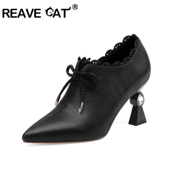 REAVE gato mujeres bombas zapatos de bombas de cuero genuino señoras tacón alto de mujer con cremallera boda diamantes de imitación extraño heels1539-in Zapatos de tacón de mujer from zapatos    1