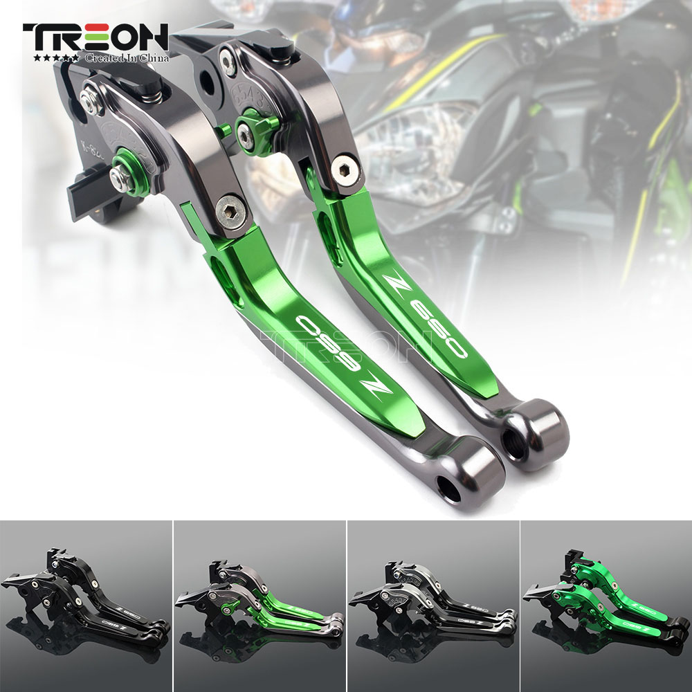 CNC Aluminum Motorcycle Frame Ornamental Extendable Brake Clutch Lever Handle For Kawasaki Z650 Z 650 2017 2018 2019 Accessories-in Covers & Ornamental Mouldings from Automobiles & Motorcycles