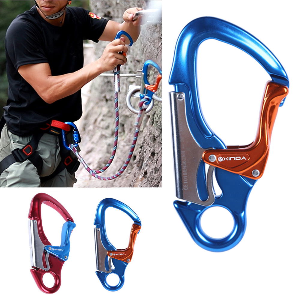 30KN Rock Climbing Auto-Lock Mountaineering Downhill High Strength Carabiner Tree Climber Working Aluminum Locking Snap