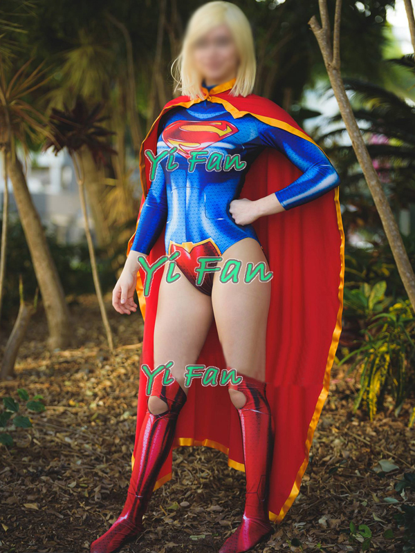 New 52 Supergirl Superhero Costume 3D Print Girl Superhero Cosplay Costume Spandex Zentai Bodysuit Halloween Costume for Woman