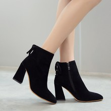 New Korean Cheap Comfort Pointed Ankle Boots Thick Heel With Side Zipper Female Spring Black Martin Shoes Woman Sale