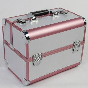32cm*22cm*26cm Professional Beautician Makeup Travel Box Cosmetic Boxes For Women Handbag Organizer 3 Layers Jewelry Storage Box