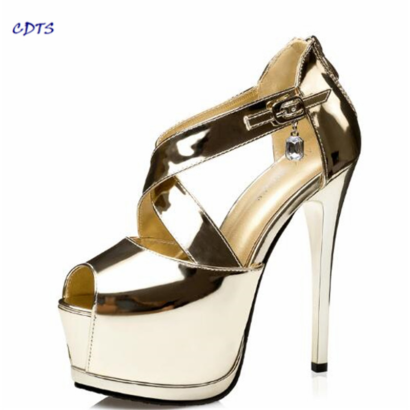 CDTS Plus:34-39 Summer ladies Gold Sandals 2017 wedding Stiletto Peep Toe 14cm thin heels platforms shoes women Party pumps
