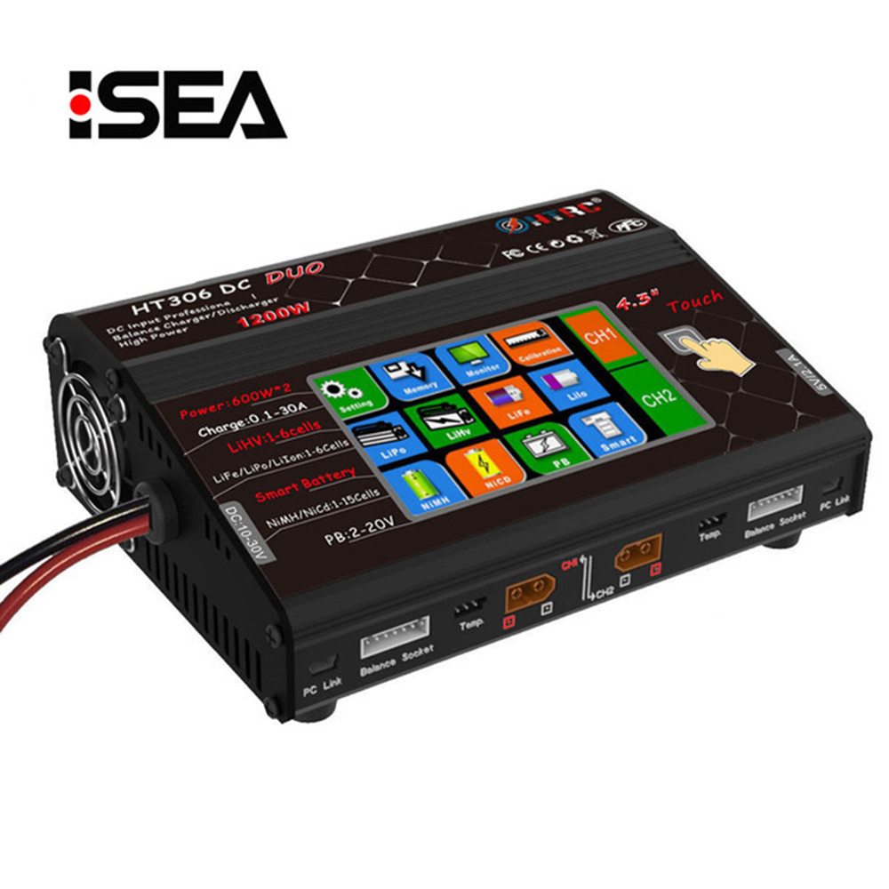 HTRC Balance Charger HT306 DC DUO 600W 2 30A 2 Dual LCD Touch Screen RC Model