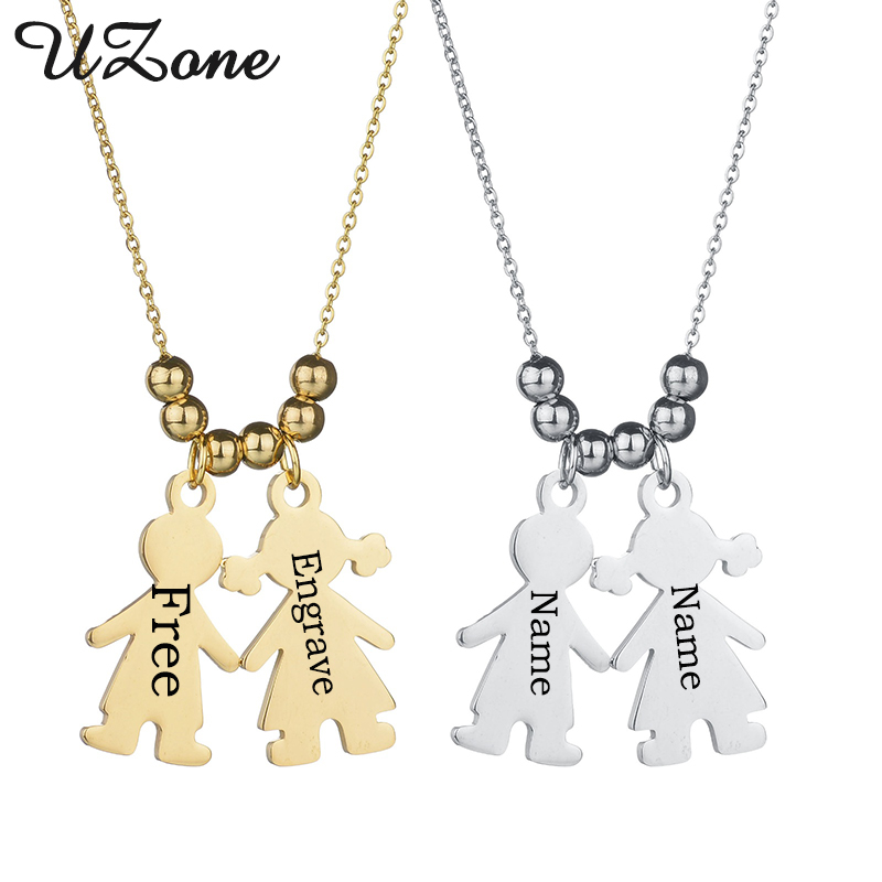 UZone New Custom Boy & Gril Necklace Stainless Steel Engrave Name Necklace Lovers Gift