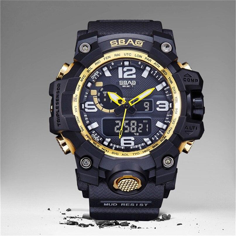 Men Sports Watches Dual Display Analog Digital LED Electronic Quartz Wristwatches Waterproof Swimming Military Watch #4M18#F