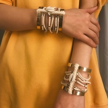 OLOEY Punk Women Bracelet Boho Retro Multi-Layered Hand Chain Female Shell Alloy Bracelets Bangle Casual Party Jewelry Gifts