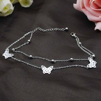 Dolaime Butterfly Anklets Stainless Steel Bohemian Style For Women Summer Foot Jewellery Fashion GA0019