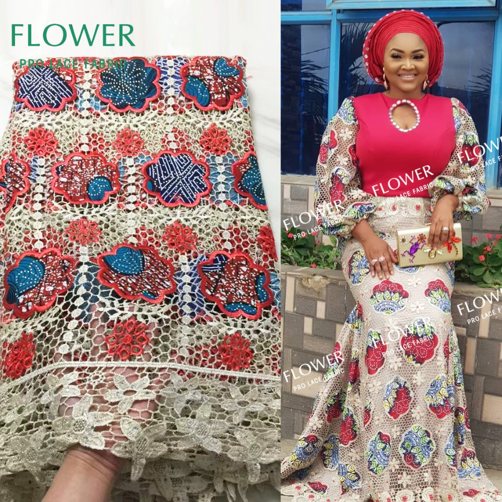 Water Soluble Style African Cord Lace Fabric With Stones High Quliaty 2019 New Nigerian Women Cotton