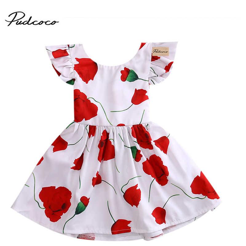 2017 novo bebê vestido de renda de lótus infantil menina rosa floral imprimir roupas do bebê meninas vestido de princesa vestido de aniversário para a menina do bebê