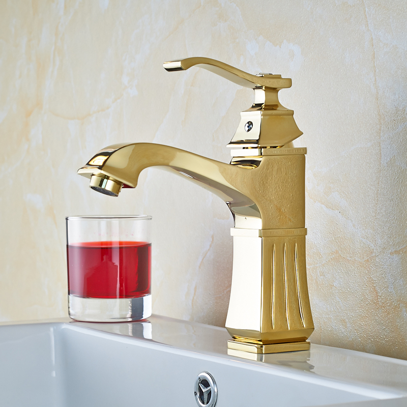 Golden Solid Brass Bathroom Sink Faucet Single Handle Mixer Tap Basin Faucet with Cover Plate waterfall spout basin sink faucet golden finish bathroom mixer tap solid brass single handle with hole cover plate