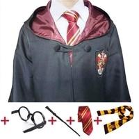 Harry Cosplay Costume Robe Cape avec Cravate Écharpe Serdaigle Gryffondor Poufsouffle Serpentard Harri Potter Cosplay pour Adulte Enfants