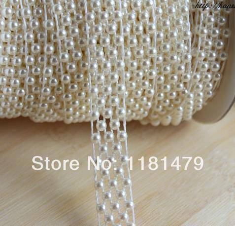 SHINYTIME Rhinestone Trims 25 Yards 5 Line Artificial Pearls String Beads Chain Banding Beige Pearl Beaded Trim for Crafts Clothes DIY Party and Bridal Bouquet Exquisite Wedding and Easter Ideas