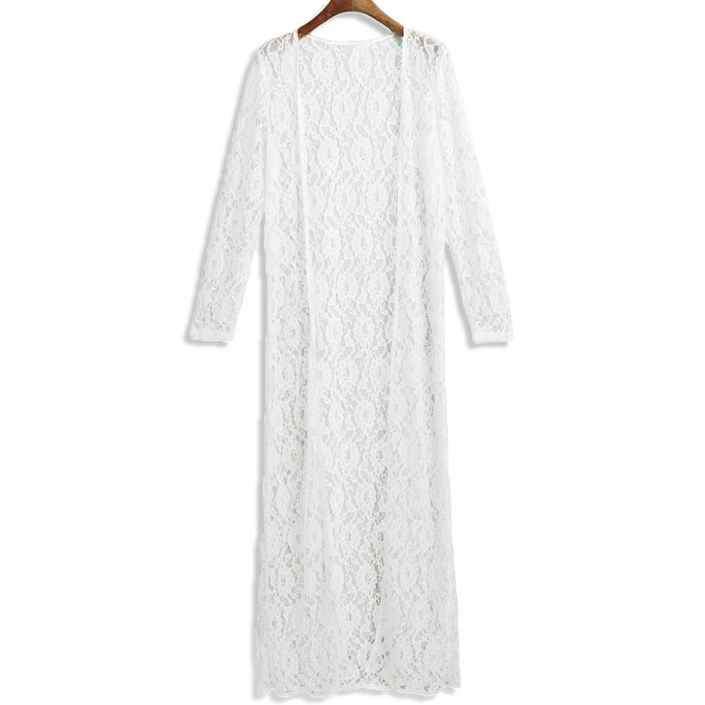 c0d674f887 ... 2019 Summer Plus Size 3XL 4XL 5XL Women Floral Lace Kimono Semi Sheer  Solid Open Front ...