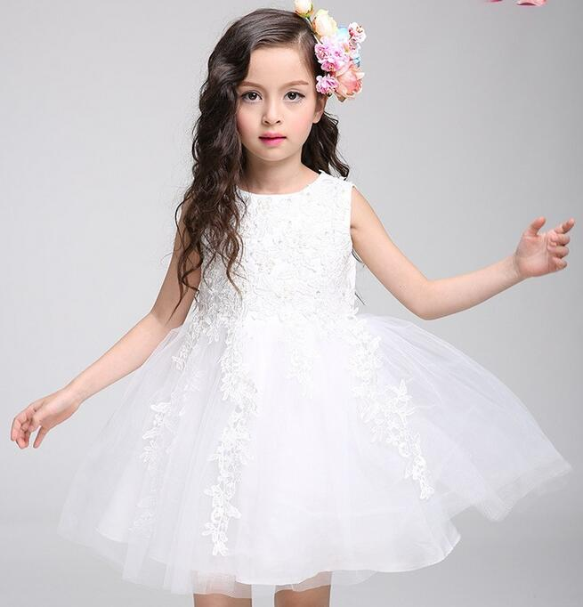 2017 Hot White First Communion Dresses For Girl Tulle Lace Infant Toddler Pageant Flower Girl Dress for Wedding and Birthday brandwen formal white dresses for girl tulle lace infant toddler pageant pearls girl dress for wedding and birthday vestidos