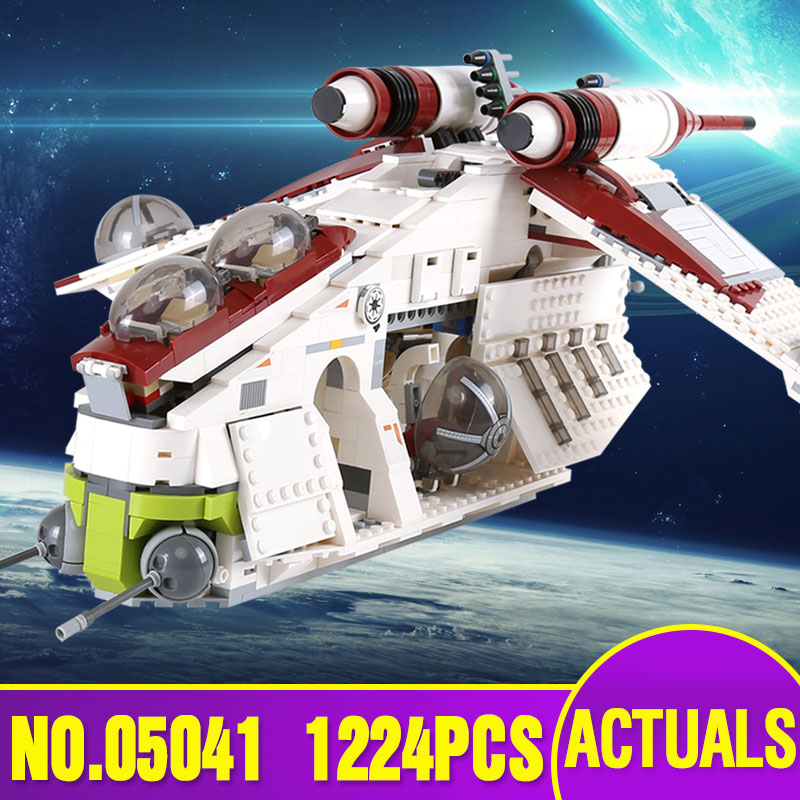 Lepin 05041 Star Genuine War Series The The Republic Gunship Set Educational Building Blocks Bricks Toys as Legoing 75021 Gift lepin 36010 genuine creative series the winter village market set legoing 10235 building blocks bricks educational toys as gift